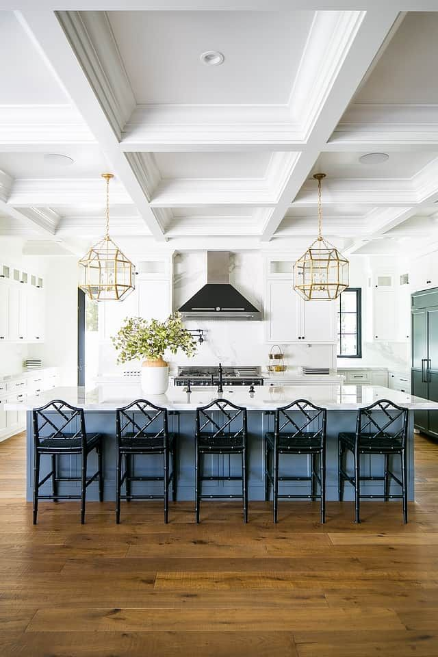 Ceilings do not have to be boring! Take a design to the next level with a coffered ceiling to add interest, drama and sophistication to a room. #kitchendesigns #cofferedceilings
