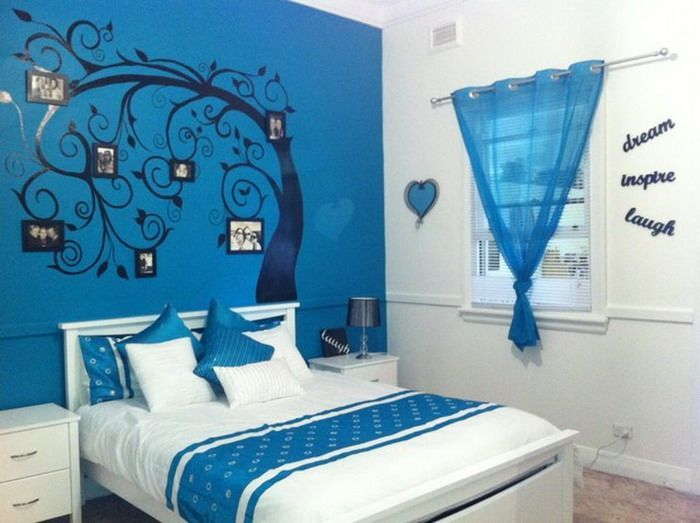 Blue painting teenage girls bedroom decoration ideas Blue teenage bedroom