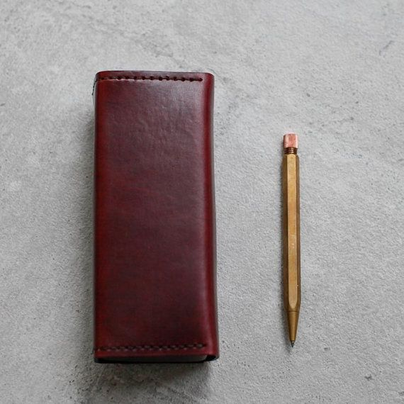 Burgundy vegetable cow hide leather Pencil by EarthyLeather