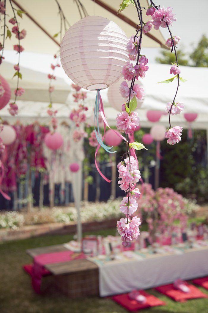 Cherry Blossom Spa Themed Birthday Party Cherry Blossom Theme Cherry Blossom Party Japanese Party