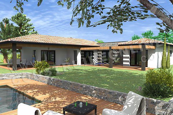 Maison moderne de plain pied de type 5 4 chambres - Plan maison 5 chambres gratuit ...