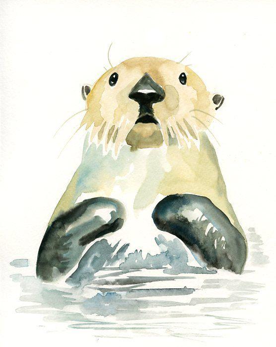 SEA OTTER 5x7 Print-Art Print-animal Watercolor Print-Giclee Print ...