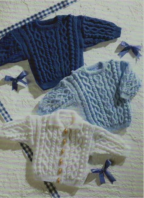 Baby / childs / childrens cable jumper / sweater & cardigan -16 to ...
