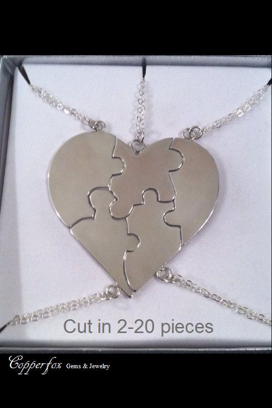 """Sterling Silver Bridesmaids Puzzle  Necklace """"A Piece Of My Heart"""" - Valentine - Custom Engraving Available in Related Listing by CopperfoxGemsJewelry on Etsy"""