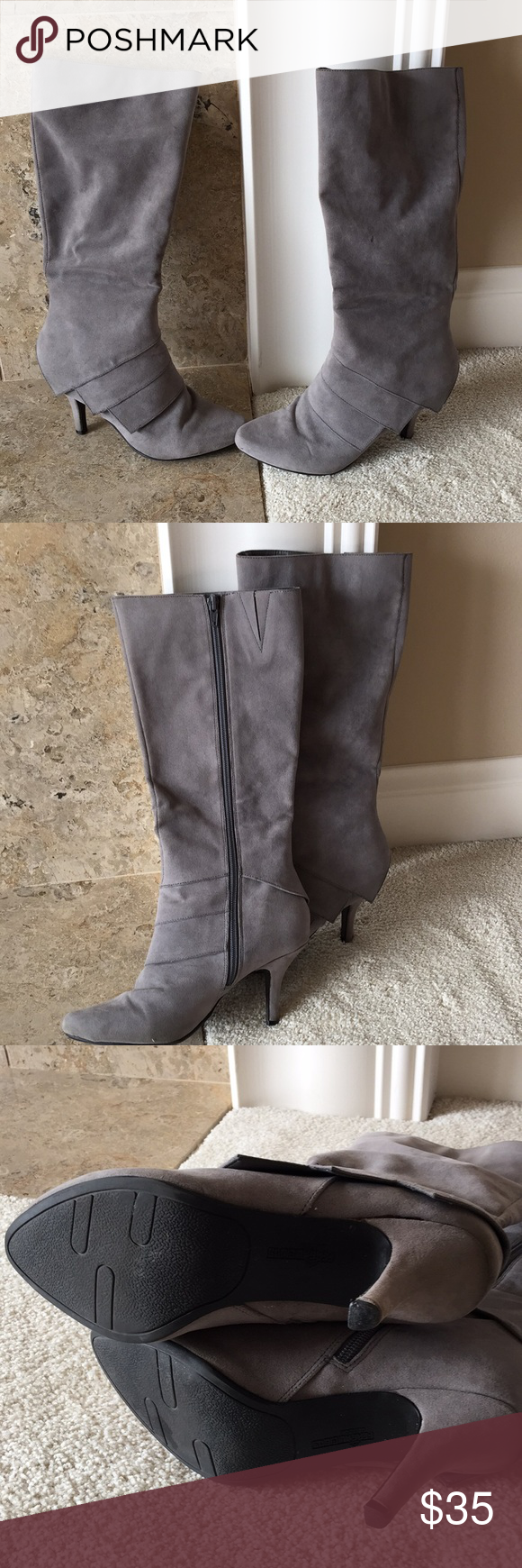 c4540da7c24 Fergalicious Grey High Boots Just below the knee boots. Zip on side from  bottom to top. 2 inch heels. Fergalicious Shoes Heeled Boots