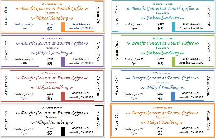 Event Ticket Template for Word DOWNLOAD at   wwwbizworksheets - Printable Ticket Templates