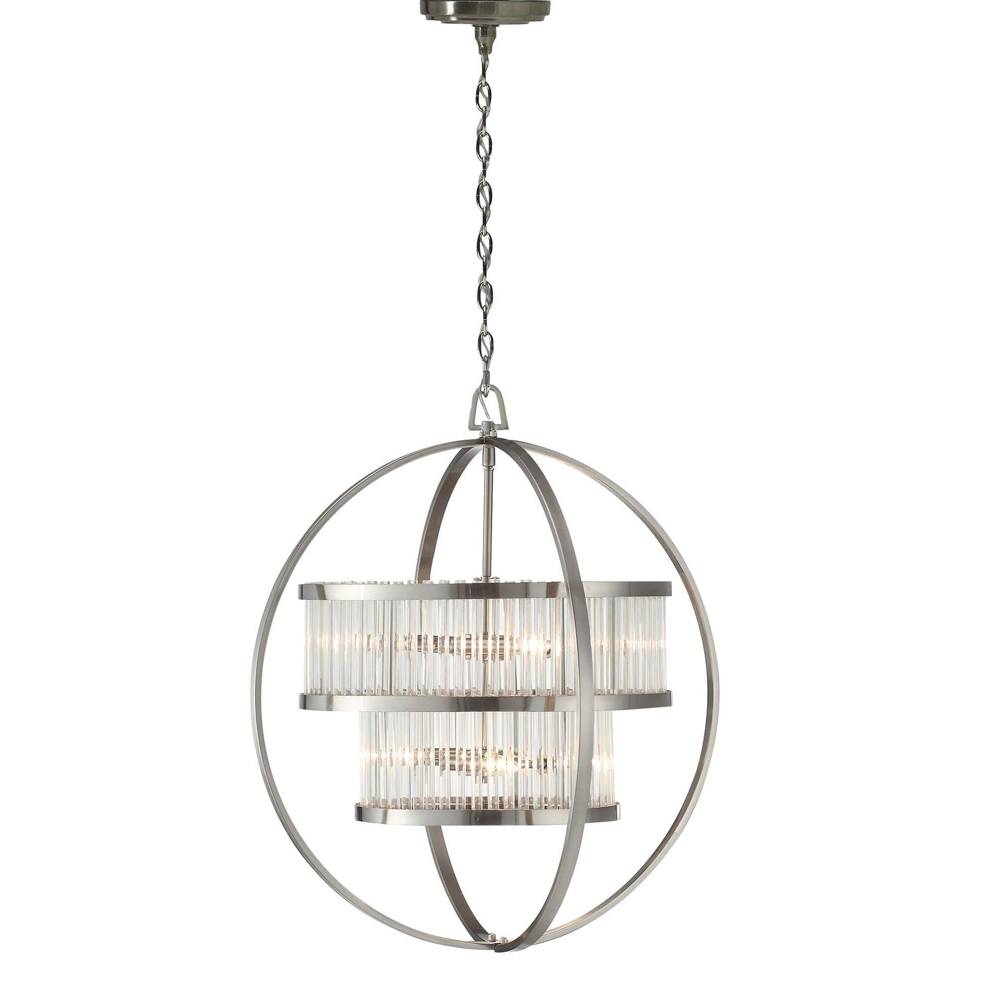 Brushed Nickel Crystal Orb 6 Light Chandelier With Images