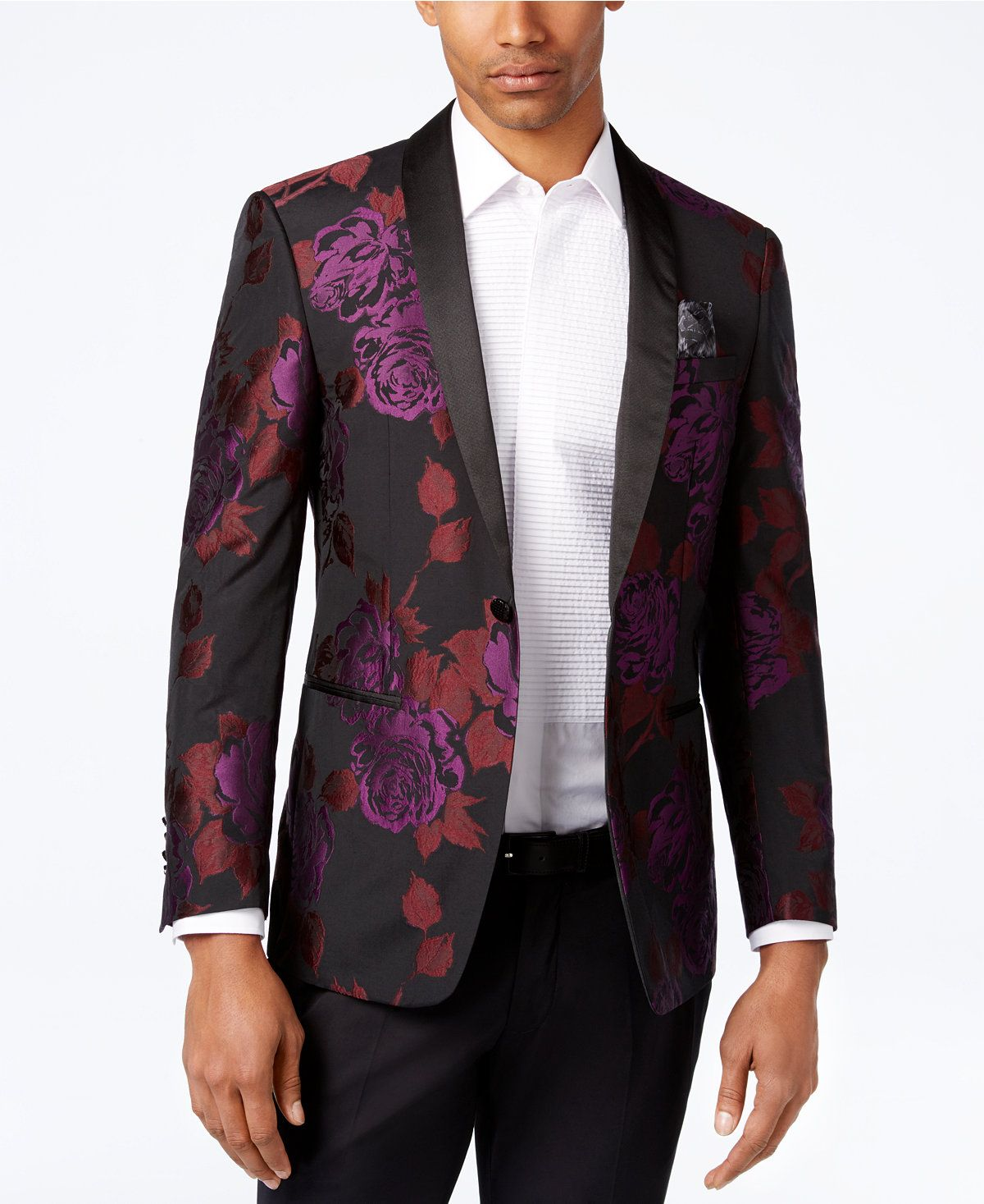 8861739236 Tallia Men s Slim-Fit Black Purple Red Floral-Print Dinner Jacket - Blazers    Sport Coats - Men - Macy s