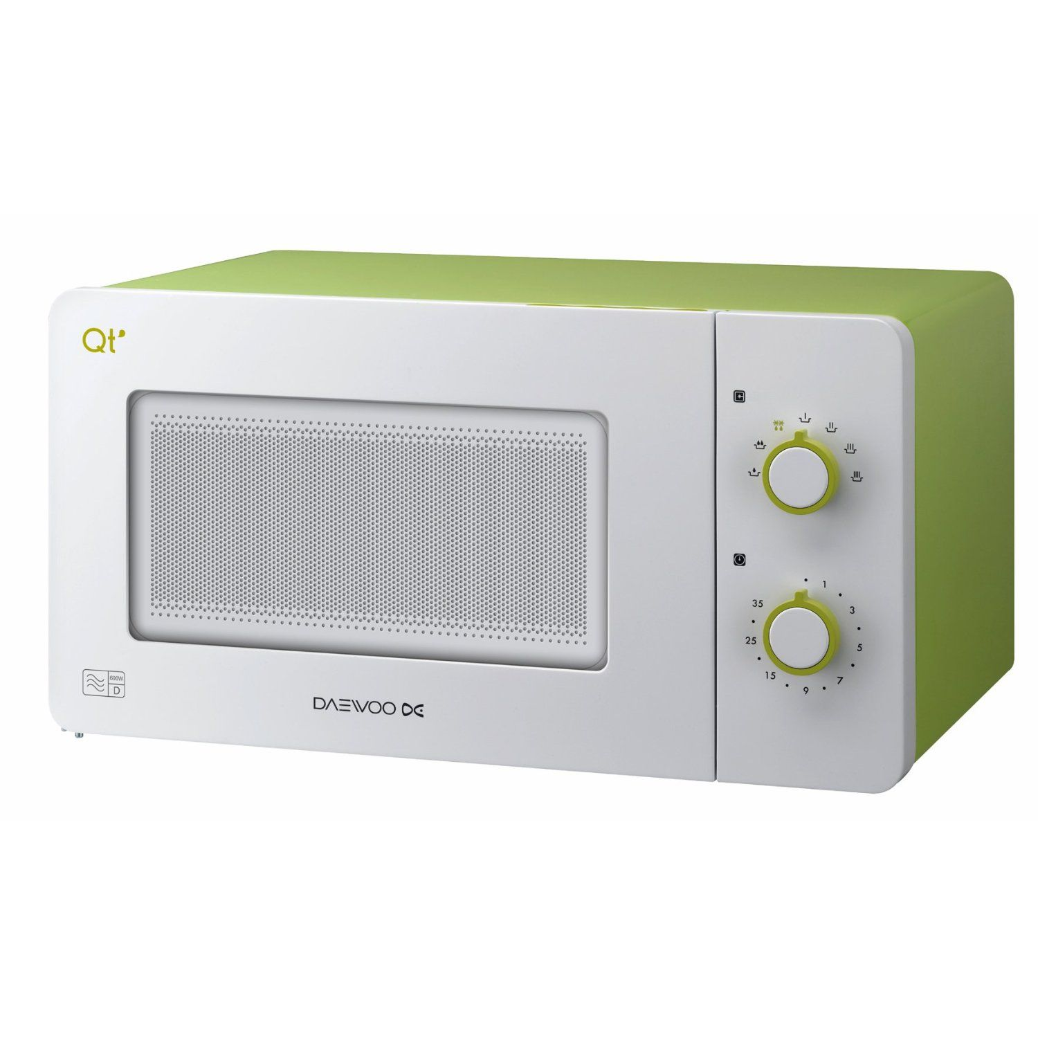 Daewoo Qt2 Compact Microwave Oven 14 Litre 600 Watt White Lime Green