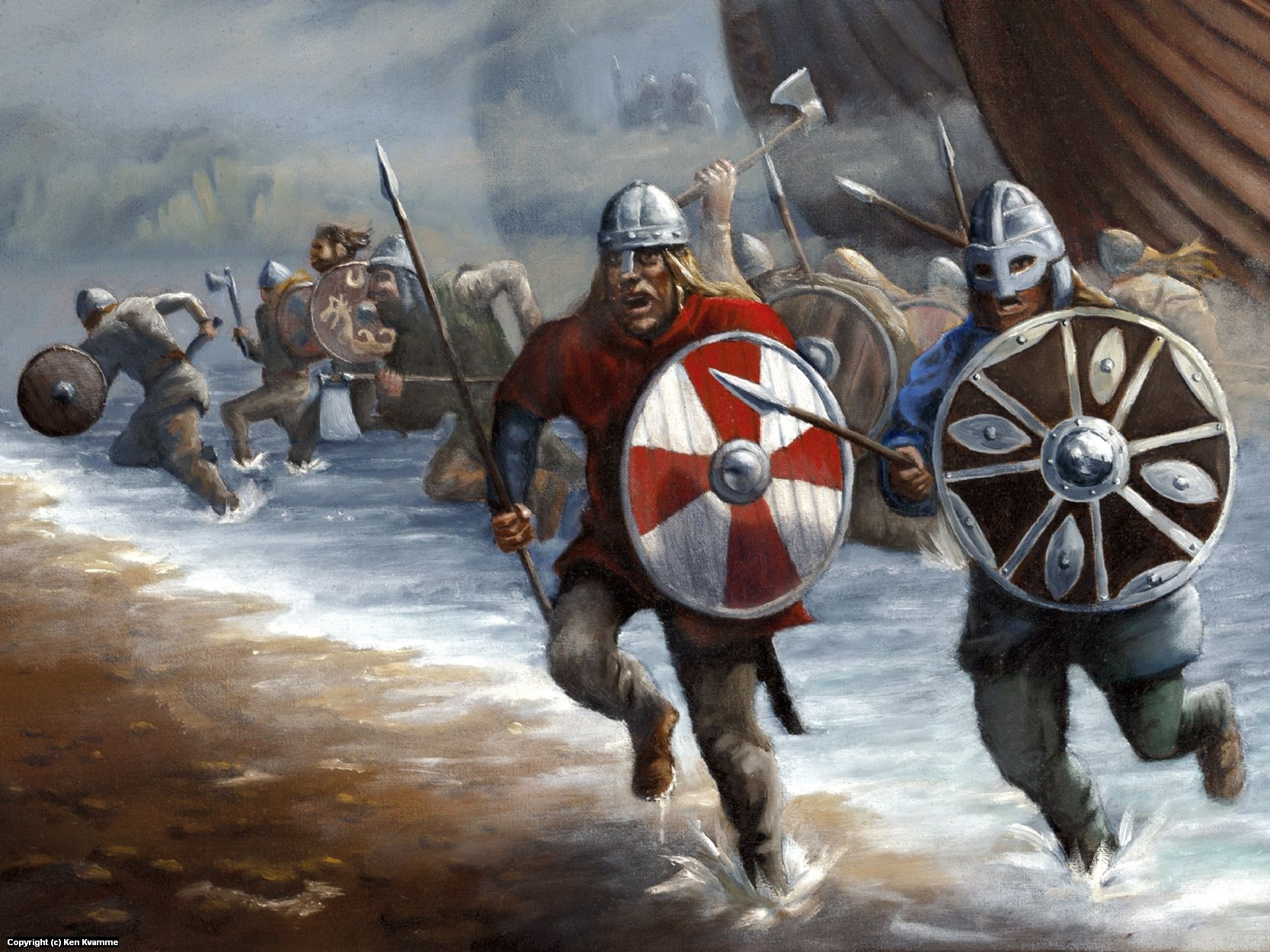 Viking Battle Painting Viking raiders chargin...