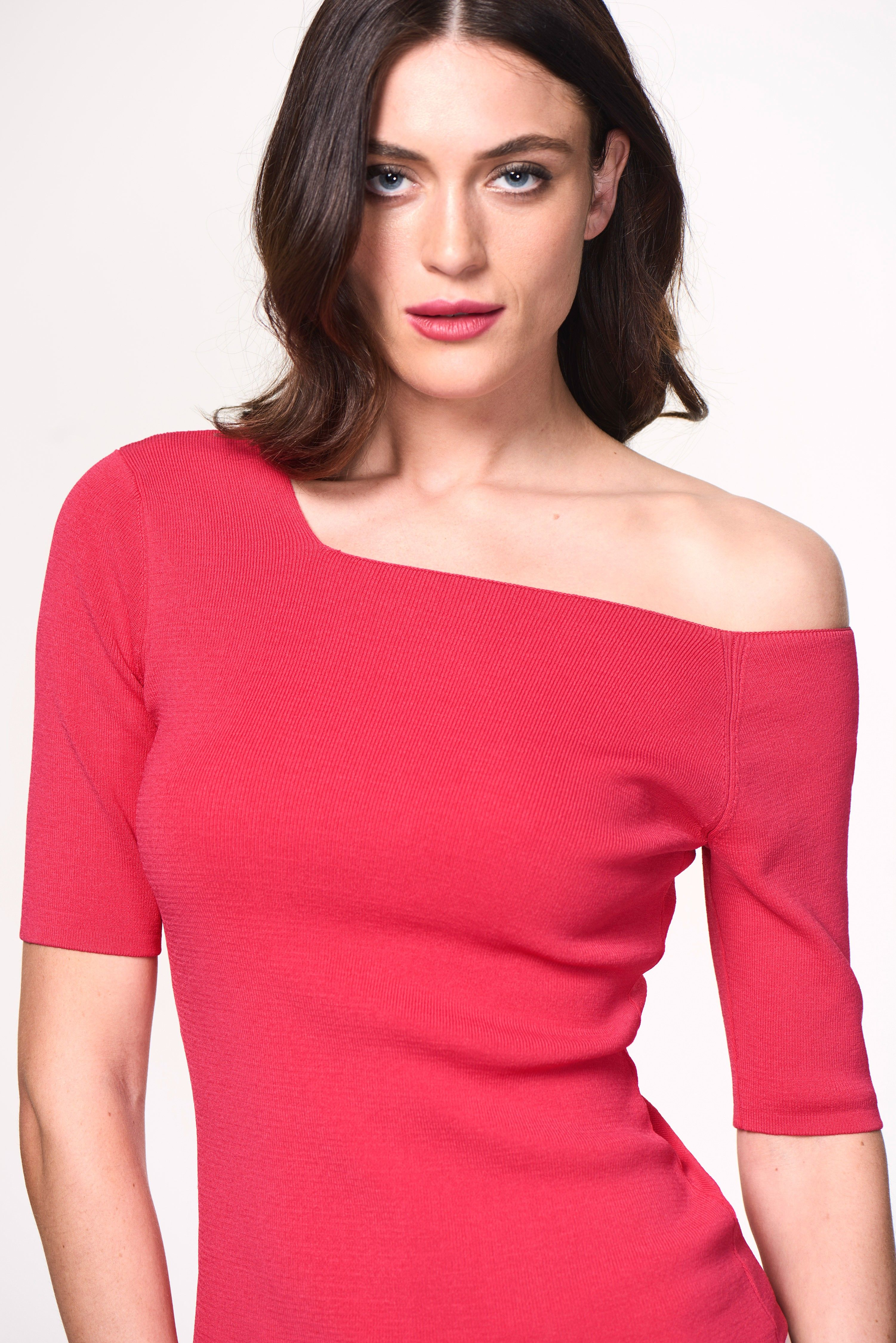 8a734aac09565 Want! Bright Pink Asymmetric Cold Shoulder Jumper