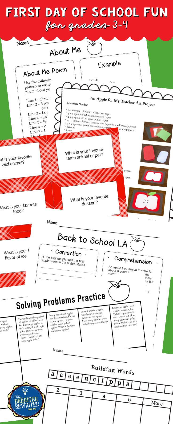 First Day of School Activities | Apple art, Activities and Worksheets
