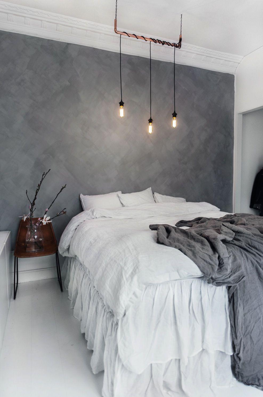 Master bedroom gray walls  Via Lisa Olsson  Health and Home  Pinterest  Lisa Wall papers