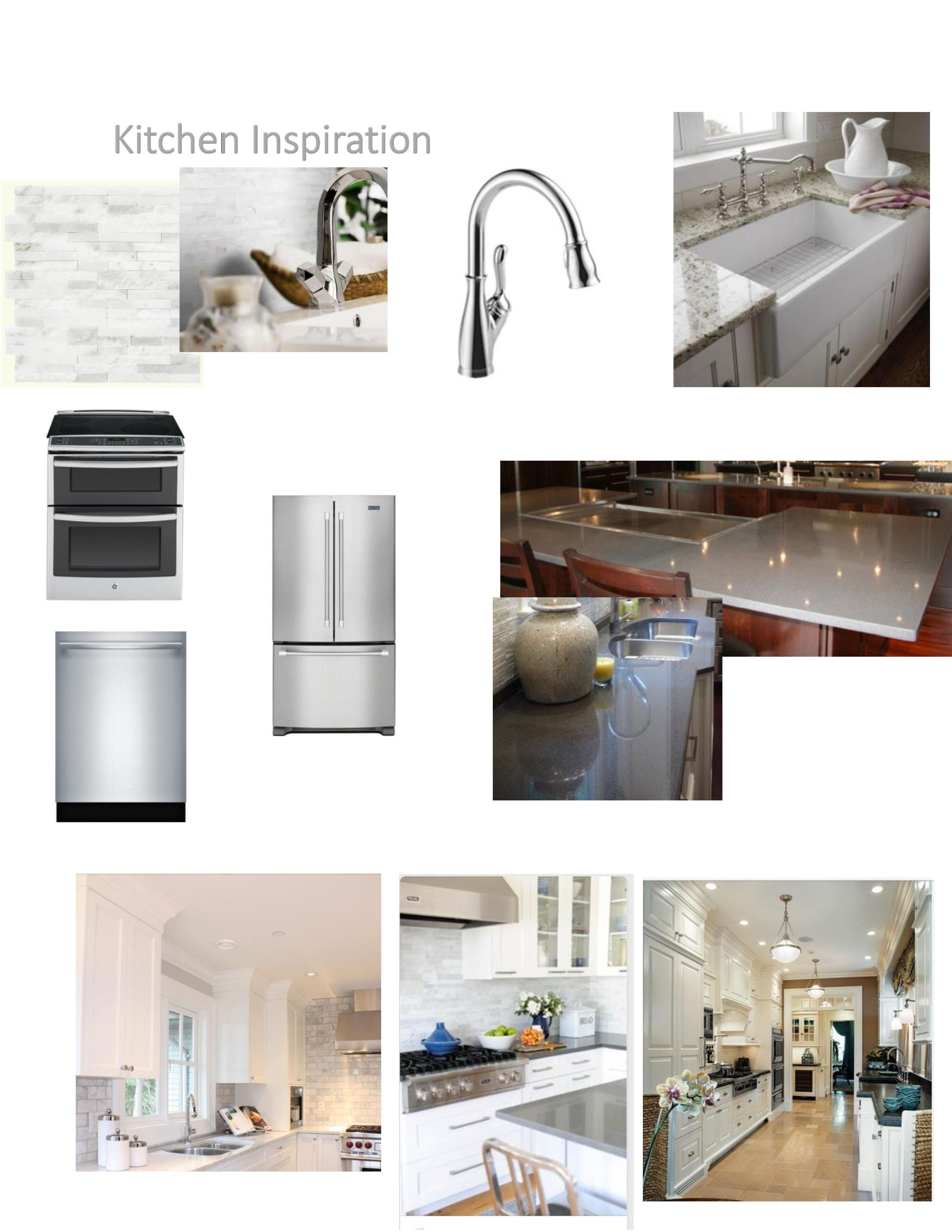Kitchen inspiration board. White cabinets with dark gray counters