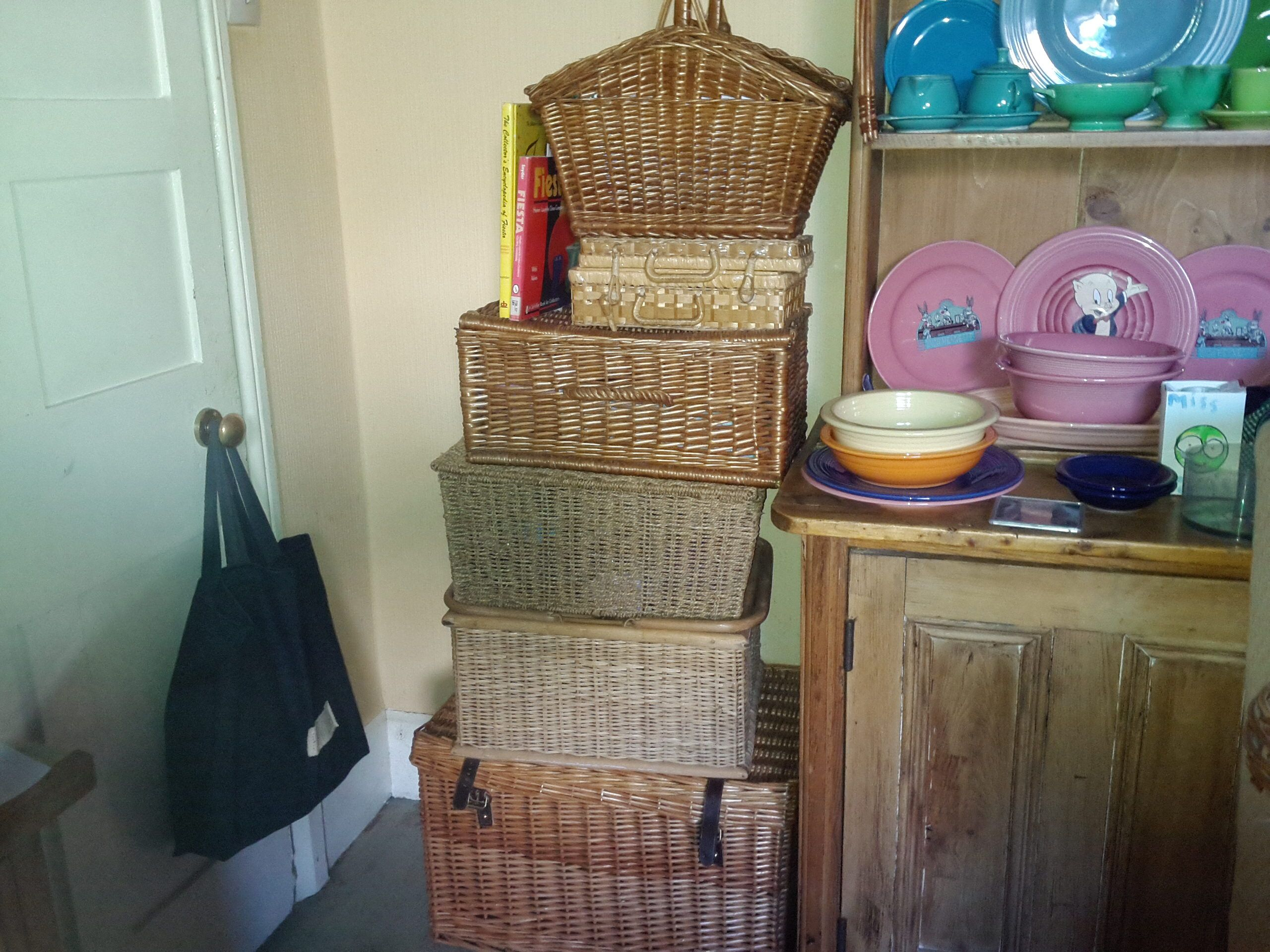 My stack of picnic baskets stores loads of things the