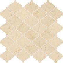 Kitchen Backsplash accent tile = Daltile Marble Crema Marfil Classico Baroque 3x3x Polished M722