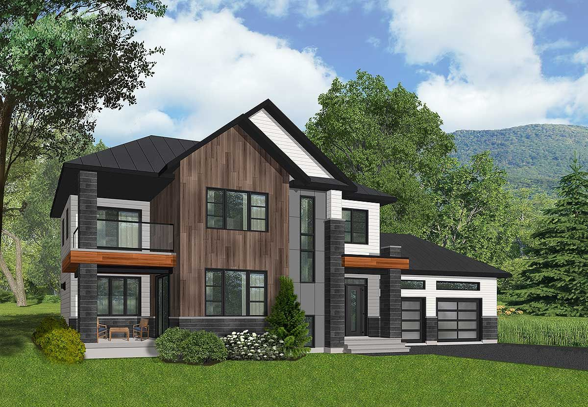 Plan 22460dr Northwest House Plan With Master Balcony Modern Style House Plans Contemporary House Plans Cottage Style House Plans