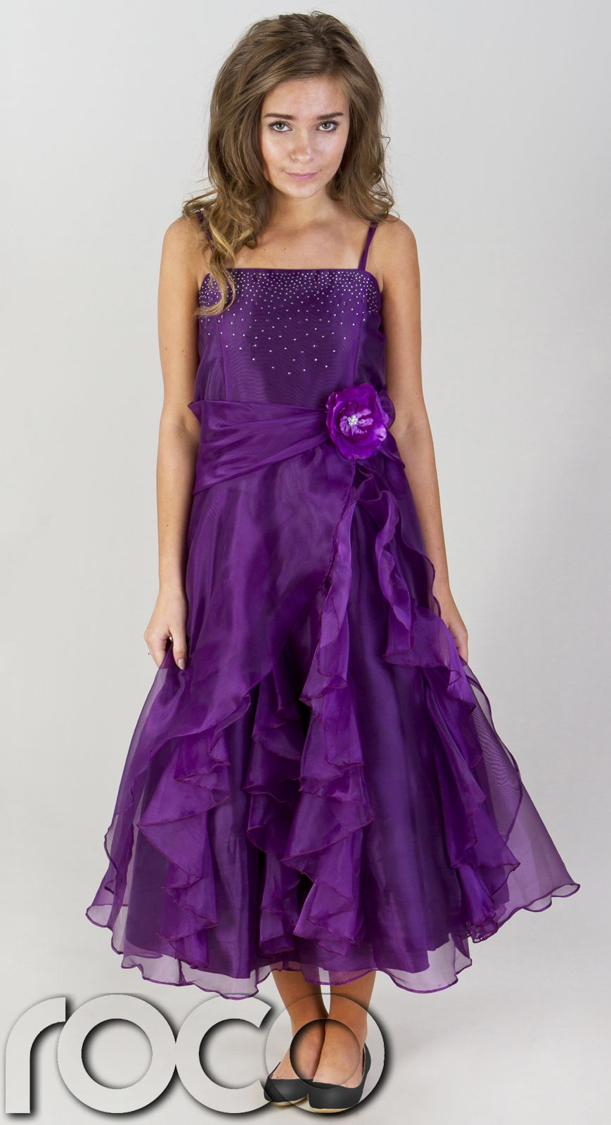 in stock sells 100% quality Girls purple wedding bridesmaid prom party flower girl dress ...