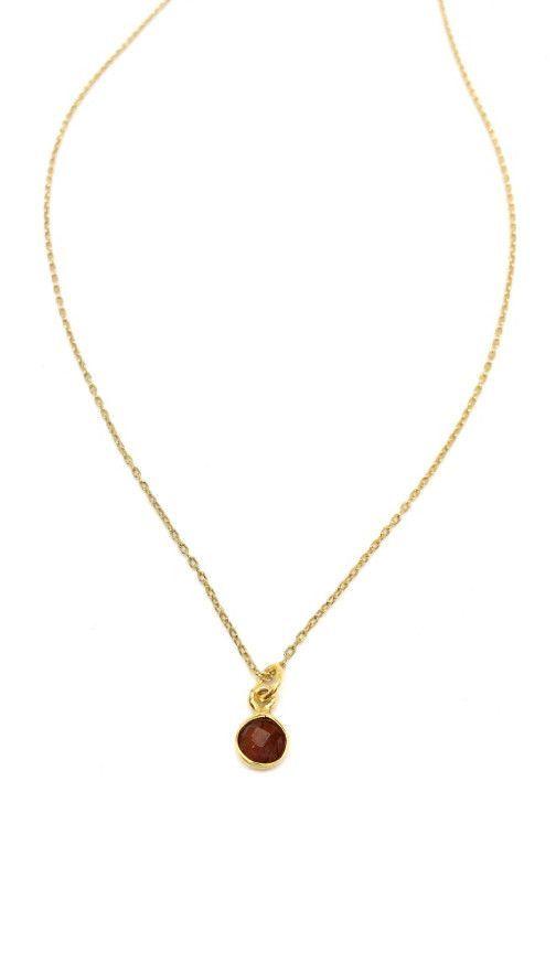Gemma Gemstone Tiny Drop Necklace   Ruby/Gold