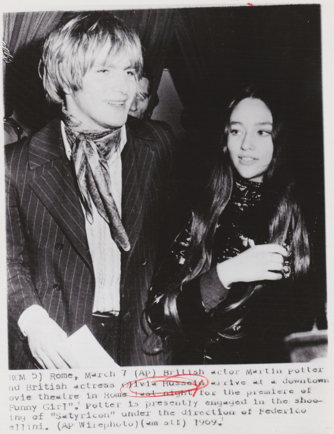 07 March 1969 - with Martin Potter #OliviaHussey