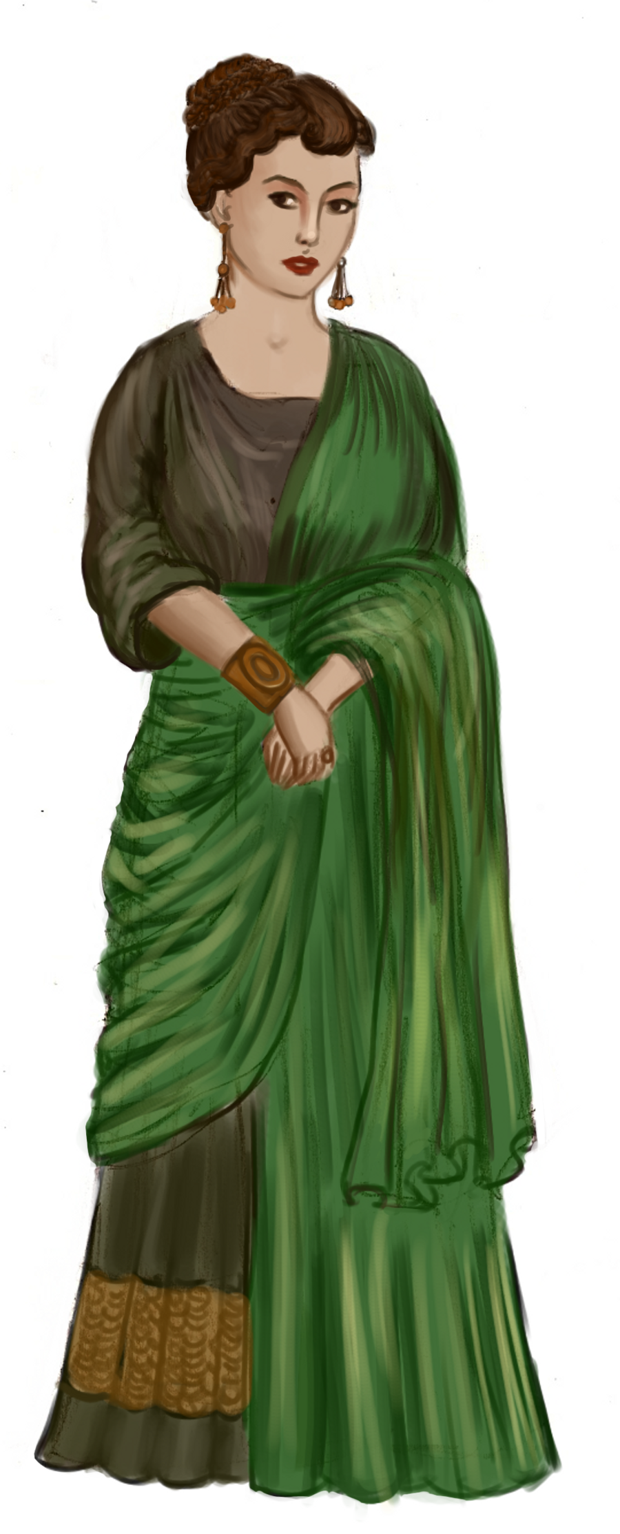 Roman lady in green Need to know more about the under gown and it\'s ...