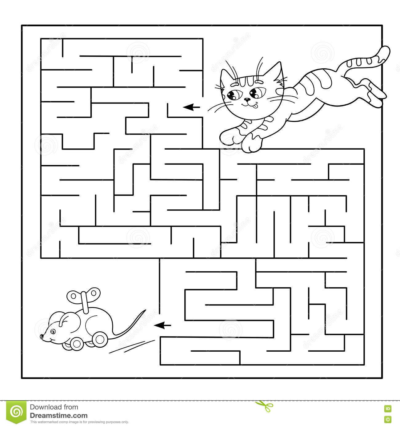 Education Maze Or Labyrinth Game For Preschool Children Puzzle Coloring Page Outline Of Cat