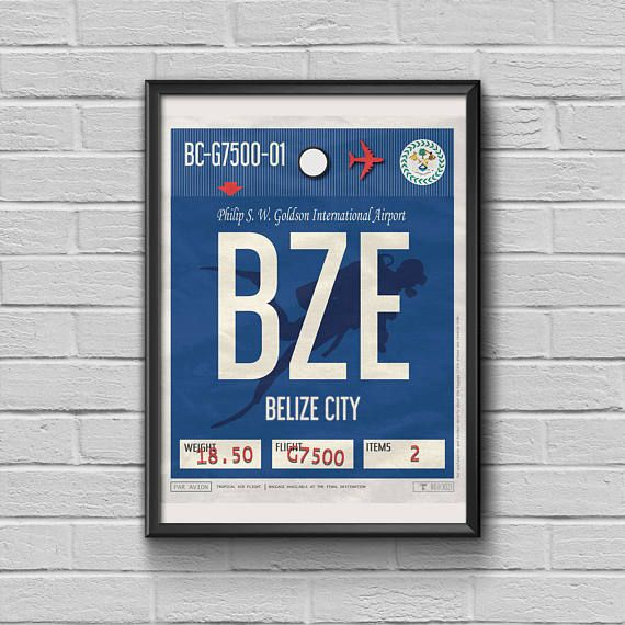 Belize City Print Luggage Tag Art Belize Framed Travel Decor Bze Airport Code Retro Belize Poster Gift For Travellers Belize Souvenir City Prints Tag Print Luggage Tags