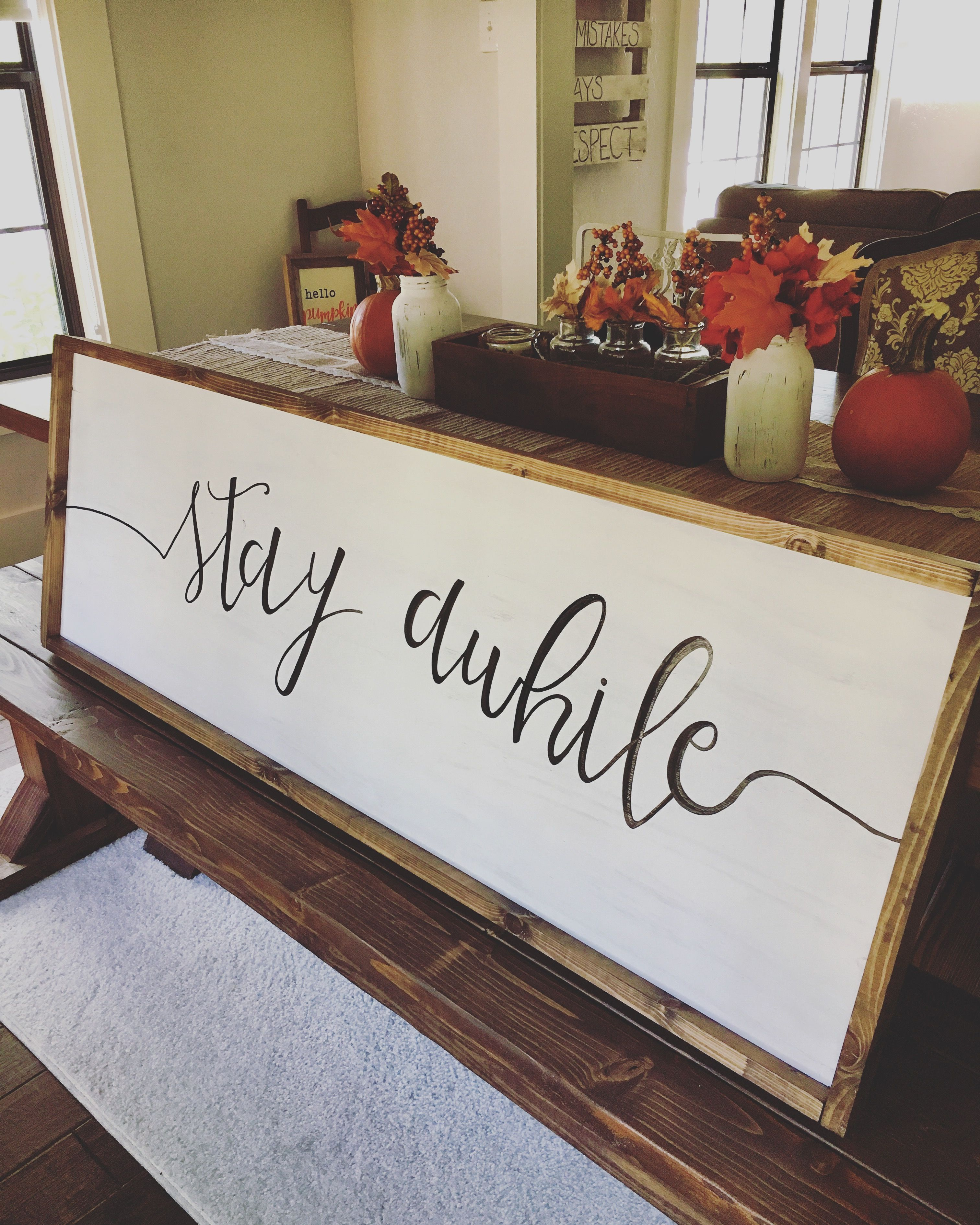 Diy Ginnyps 48 X18 Hand Painted Stay Awhile Wooden Sign Painted Wooden Signs Cabin Living Room Decor Home Decor Wall Art
