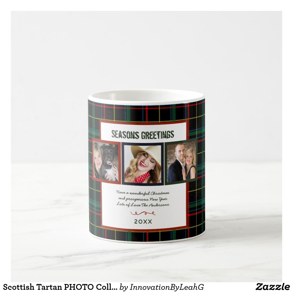 Scottish Tartan PHOTO Collage Christmas Gift Coffee Mug in 2018 ...