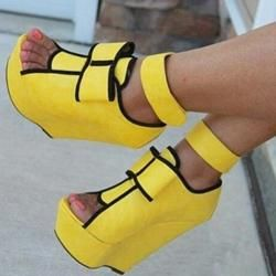 EricDress EricDress Ericdress Yellow Wedge Sandals with