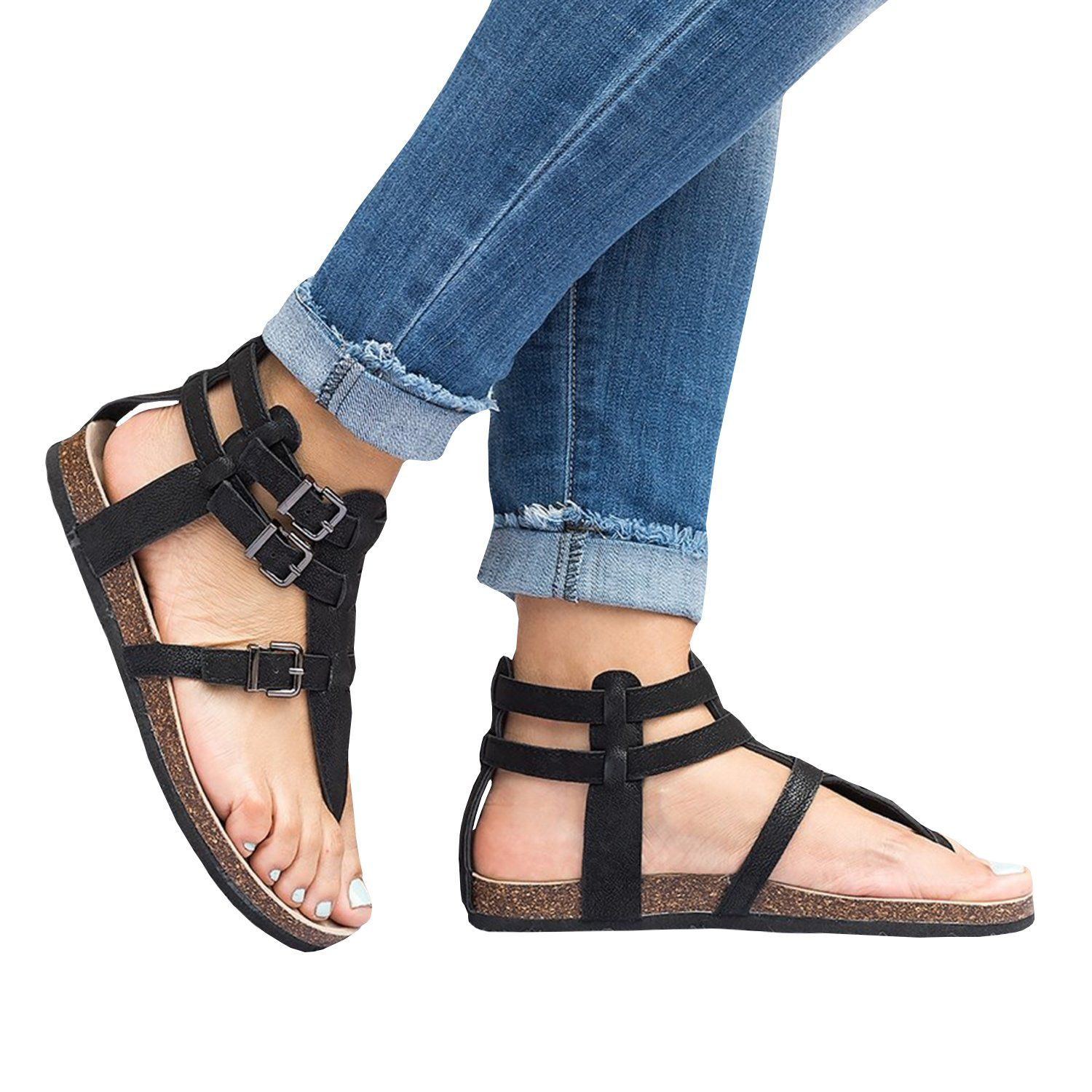 e4beb1033 Womens Thong Strappy Gladiator Flat Sandals Summer T Strap Ankle Strap  Buckle Cork Sole Flip Flops ** We appreciate you for visiting our picture.