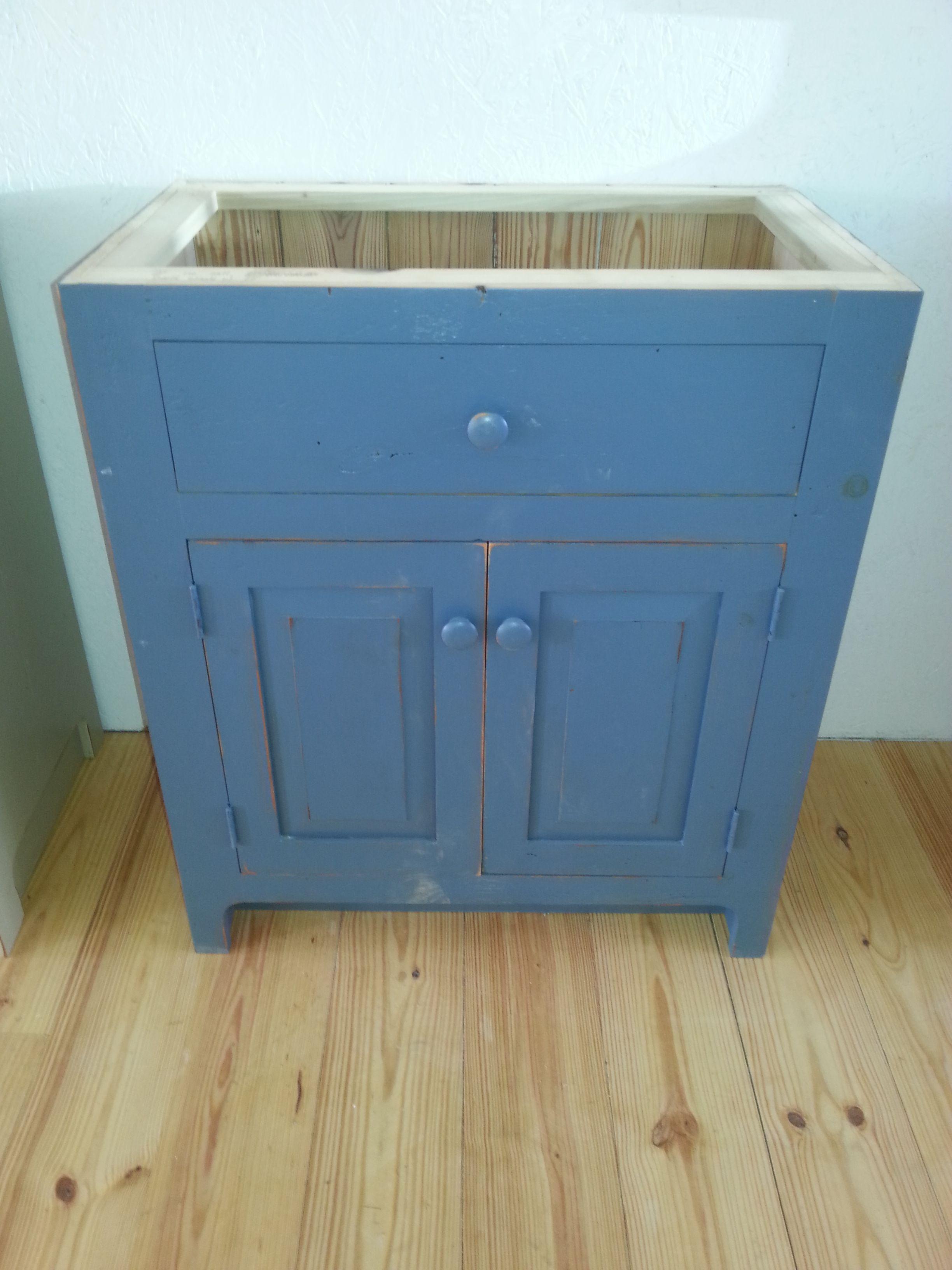 Reclaimed Barn Wood Bathroom Vanity - Federal Blue Milk Paint   Like ...