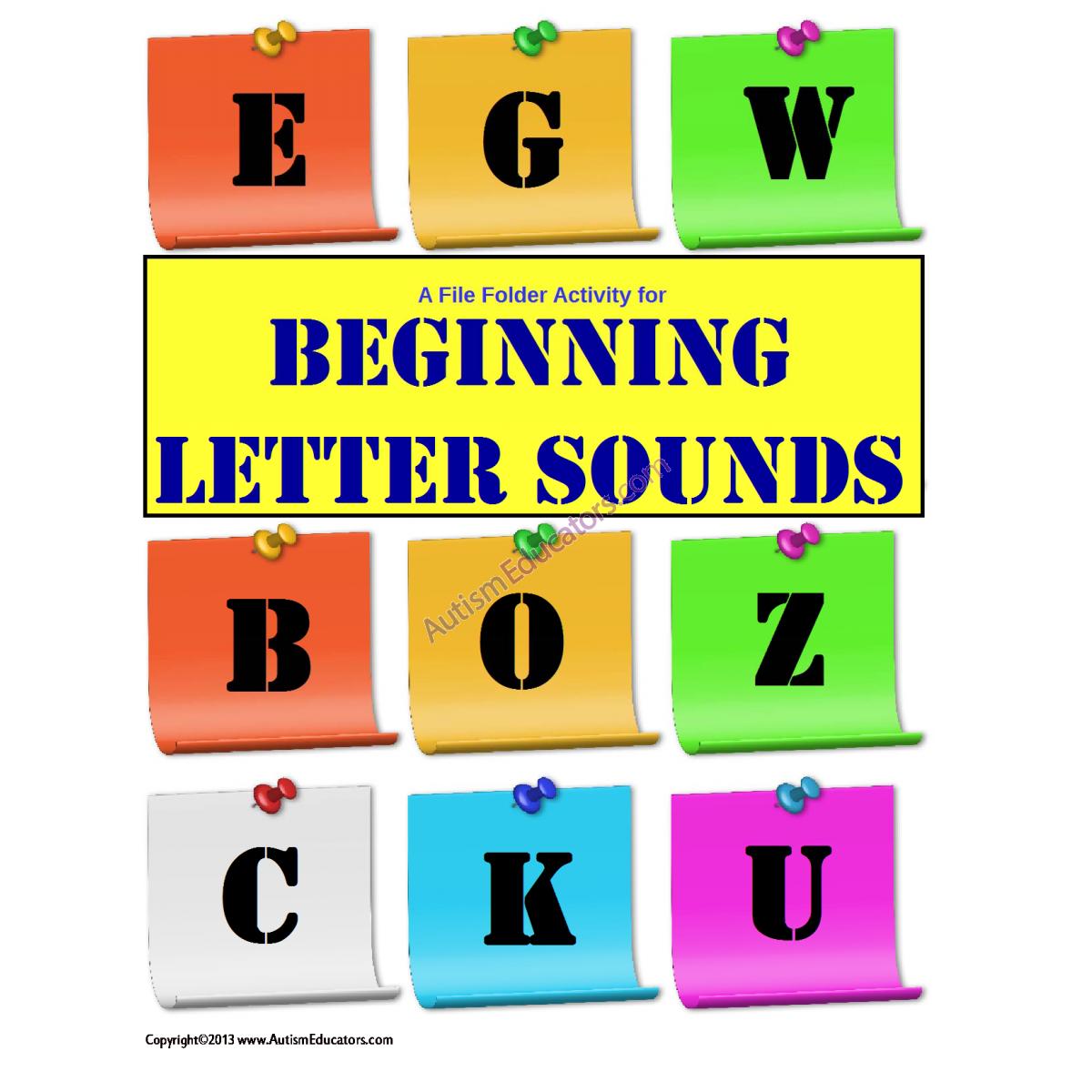 File Folder Activity Beginning Letter Sounds Initial Sound