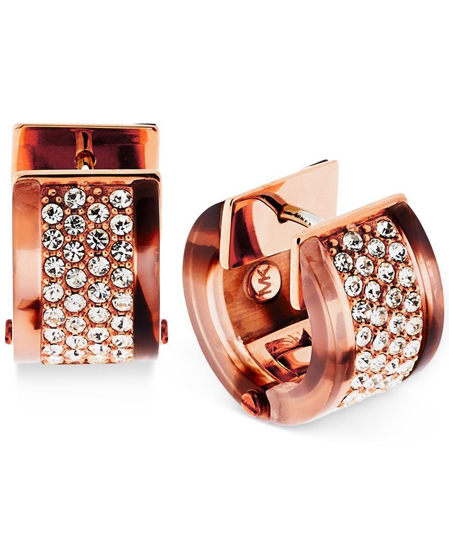 Michael Kors Rose Gold-Tone Tortoise-Look Pave Huggie Hoop Earrings