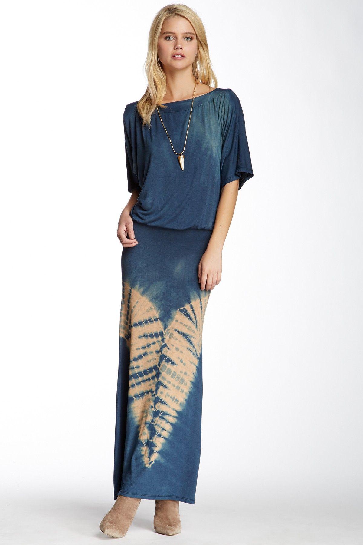 Tiedye short sleeve maxi dress by go couture on hautelook zrób