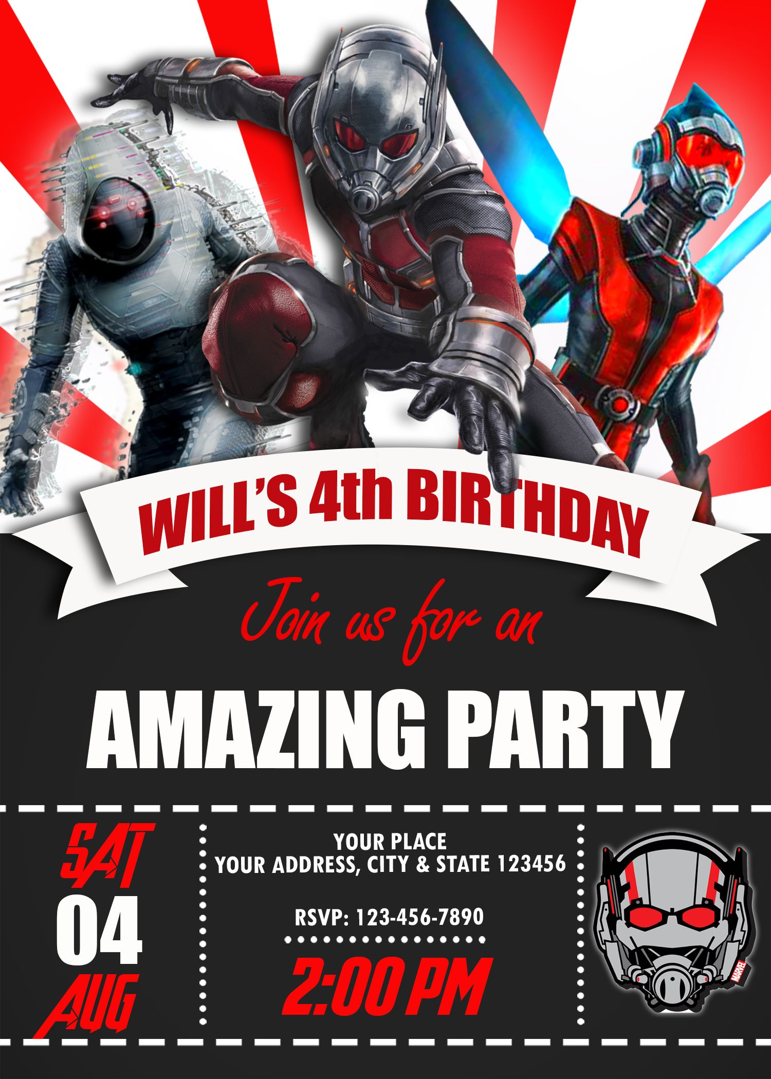 ANTMAN AND THE WASP BIRTHDAY INVITATION | OSCARSITOSROOM | Pinterest ...