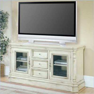 Parker House Westminster 65 Inch TV Stand in Vintage Cream Crackle