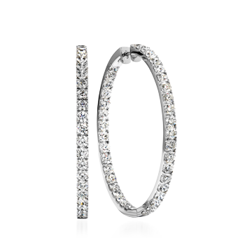 """6.25 Carat, 18k White Gold, 1.75"""" Hoopla Round Earrings from Hearts On Fire - $24500.00 (Yes, that's correct.)"""