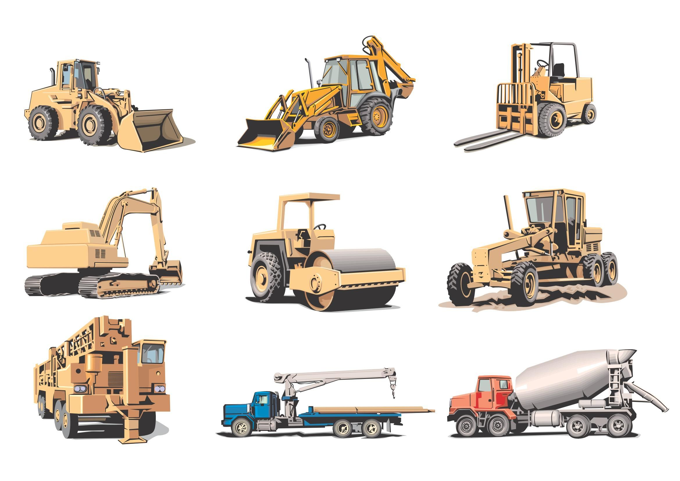 Transport Construction Download Vector In 2020 Heavy Machinery