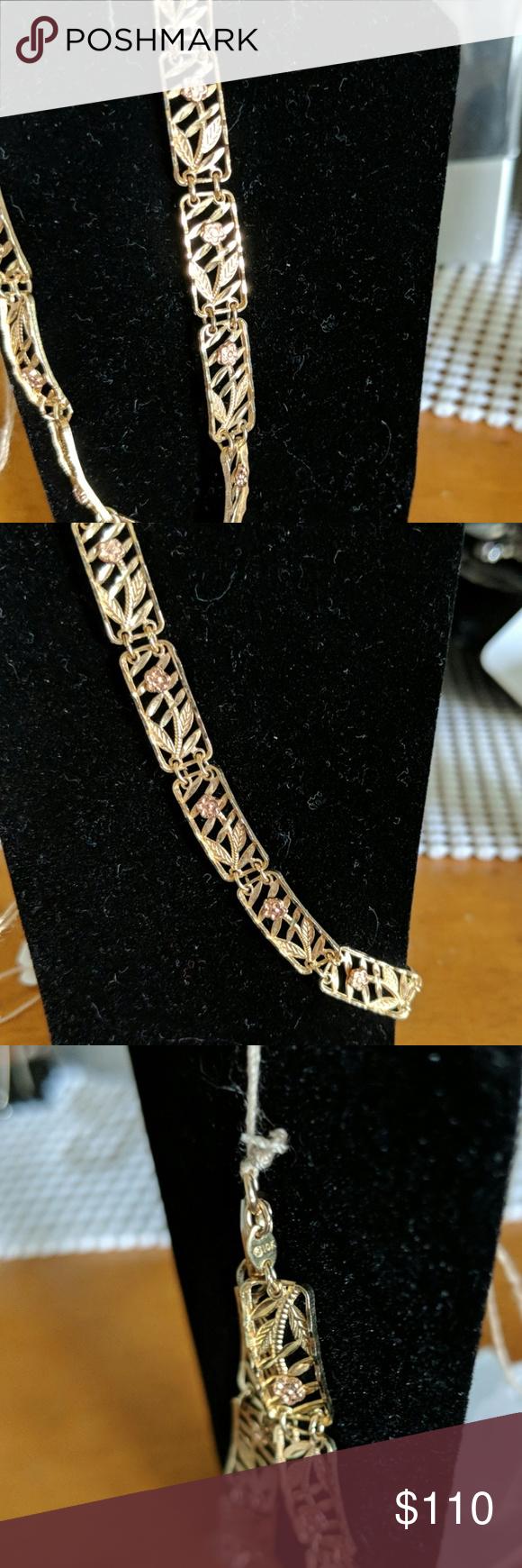 Gold 10 Karat Bracelet With Rose S Bracelets Womens Jewelry Bracelets Karat