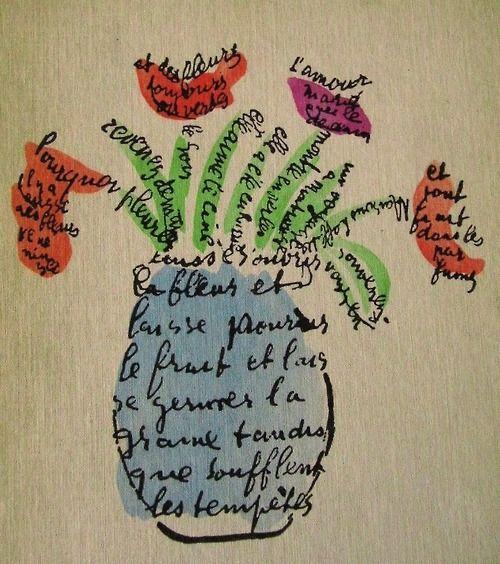 Un Calligramme Poème écrit En Forme De Dessin Le Bouquet