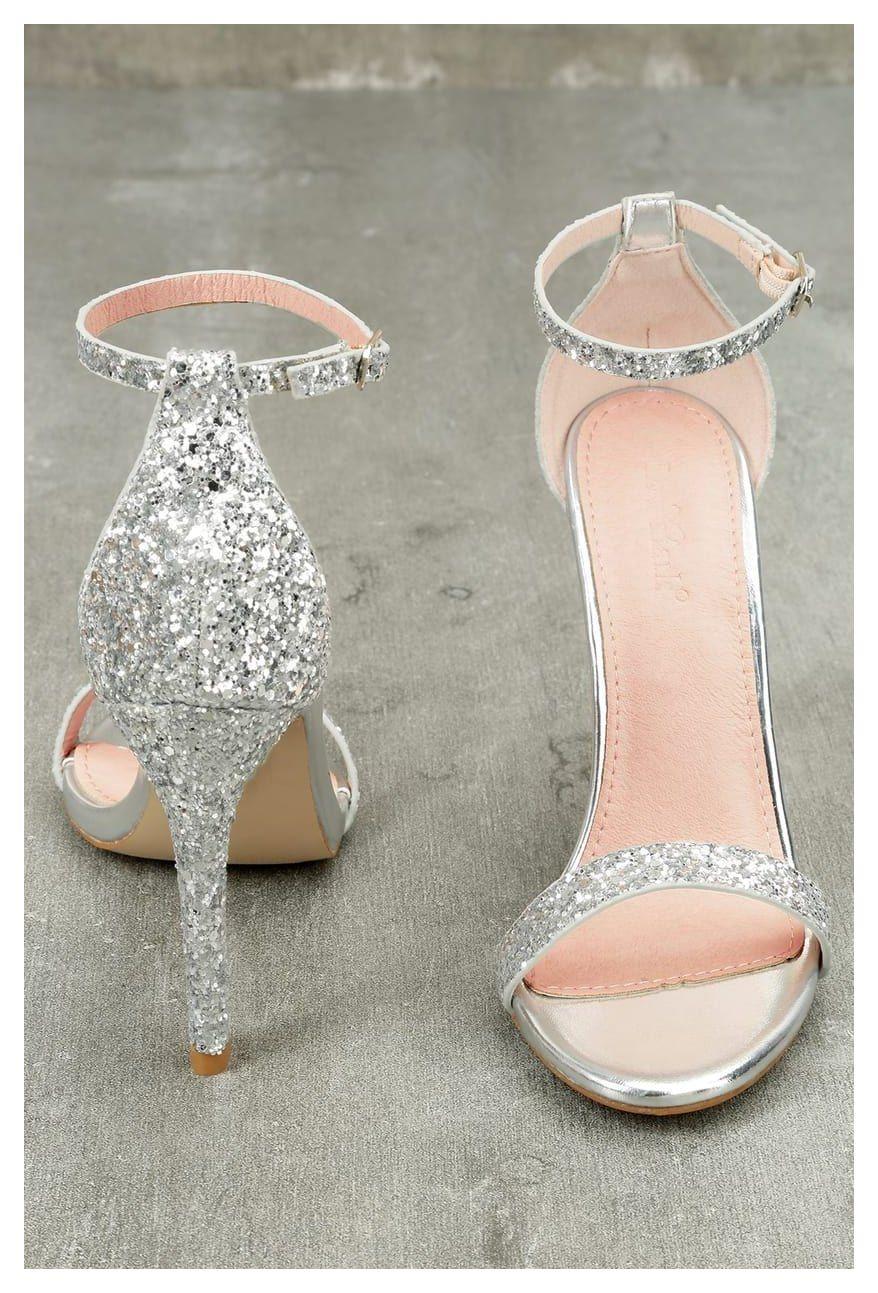 Ankle strap heels fitz silver glitter ankle strap heels