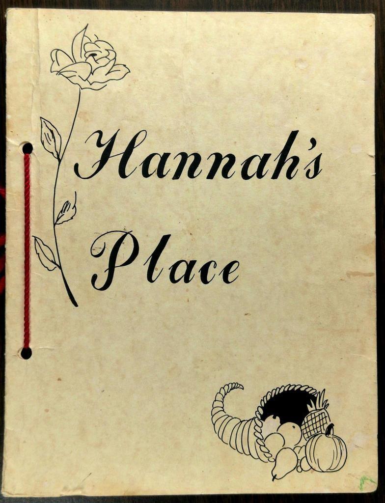 1980's Original Menu HANNAH'S PLACE Restaurant in 2020