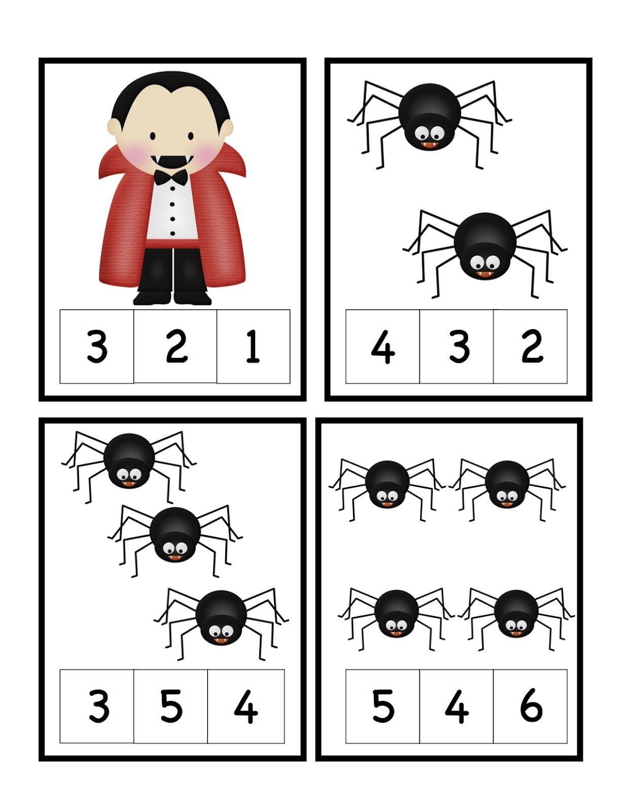 Preschool Printables Halloween Number Cards