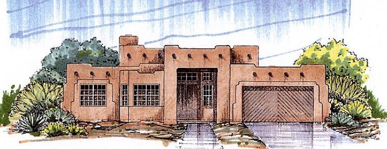 Southwest Style House Plan with 4 Bed 2 Bath 2 Car Garage