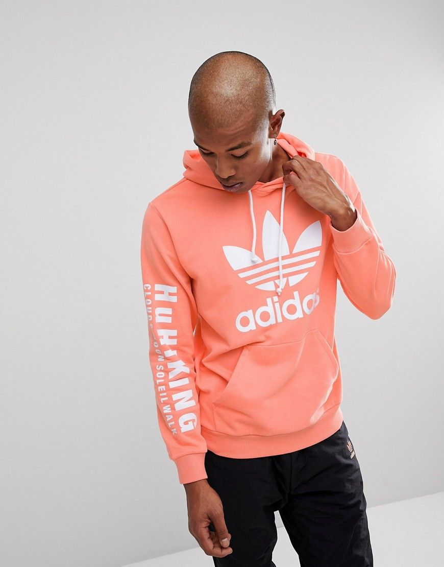 bdd0cd704 ADIDAS ORIGINALS X PHARRELL WILLIAMS HU HIKING HOODIE WITH ARM PRINT IN  PINK CY7875 - PINK.  adidasoriginals  cloth