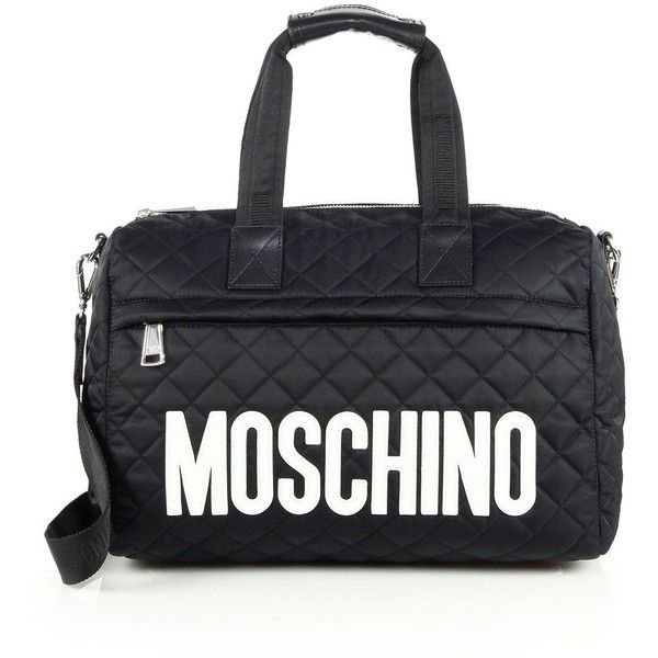 Moschino Quilted Nylon Large Duffel Bag (2.405 BRL) ❤ liked on Polyvore featuring bags, luggage, apparel & accessories and black