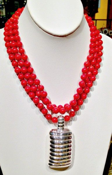 """Simon Sebbag necklace triple strand 18"""" branch coral with attached sterling silver pandant"""