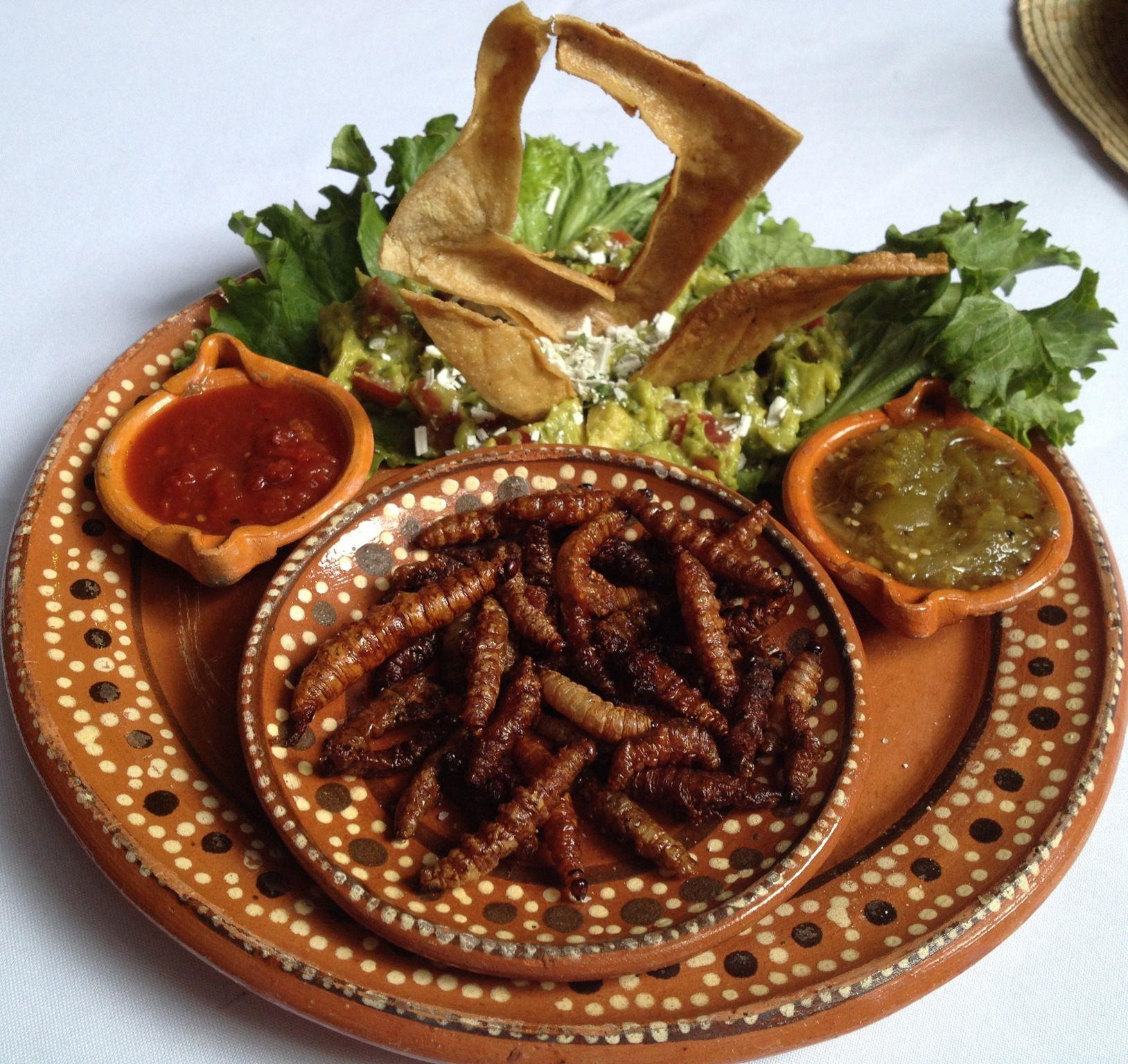 Comida típica de Hidalgo: gusanos de maguey.