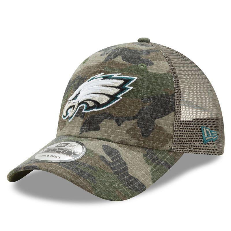 5e8a68acd4fad8 Philadelphia Eagles New Era Woodland Trucker Duel 9FORTY Adjustable  Snapback Hat - Camo